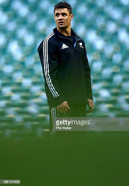 Dan Carter of the New Zealand All Blacks during a kicking practice session at the Twickenham rugby stadium on November 15 2013 in London England
