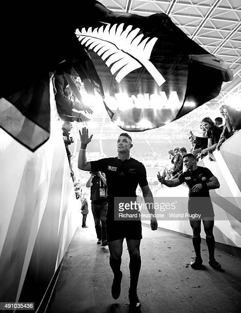 Dan Carter of the New Zealand All Blacks greets fans after the 2015 Rugby World Cup Pool C match between New Zealand and Georgia at Millennium...