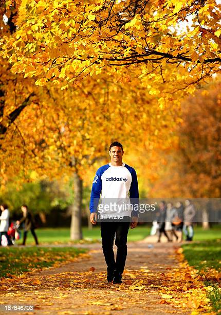 Dan Carter of the New Zealand All Blacks poses during a portrait session in Hyde Park on November 13 2013 in London England