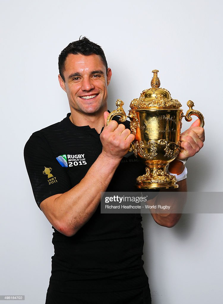 Dan Carter of the New Zealand All Blacks poses with the Webb Ellis Cup after the 2015 Rugby World Cup Final match between New Zealand and Australia at Twickenham Stadium on October 31, 2015 in London, United Kingdom.