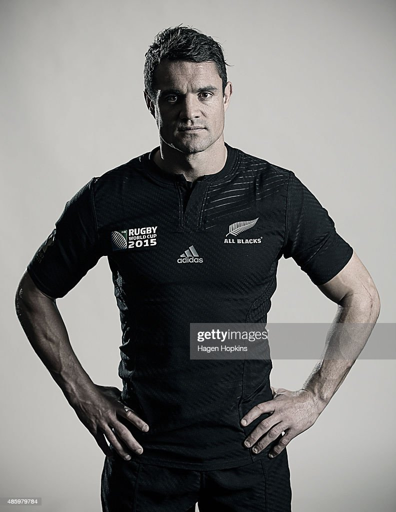 Dan Carter poses during a New Zealand All Blacks Rugby World Cup Squad Portrait Session on August 31, 2015 in Wellington, New Zealand.