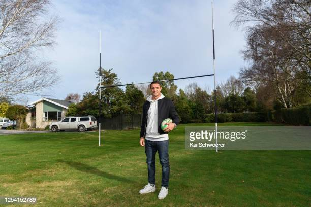 Dan Carter poses in front of his first goalposts at his family home prior to the Ellesmere Premier Competition match between Southbridge RFC and West...