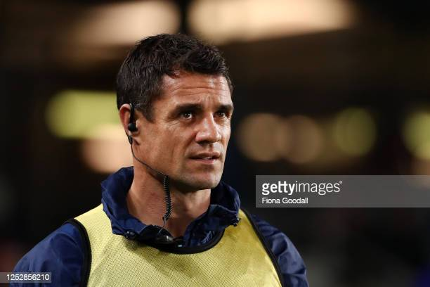 Dan Carter runs the water for the Blues during the round 3 Super Rugby Aotearoa match between the Blues and the Highlanders at Eden Park on June 27,...