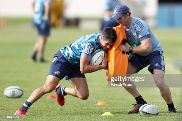 Dan Carter runs through drills during a Blues Super Rugby training session at Blues HQ on June 12, 2020 in Auckland, New Zealand.