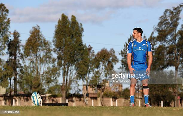 Dan Carter, the All Black standoff, lines up a kick during a New Zealand All Blacks training session held at Saint George's College on September 27,...