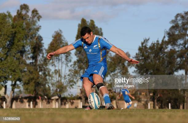 Dan Carter, the All Black standoff, practices his kicking during a New Zealand All Blacks training session held at Saint George's College on...
