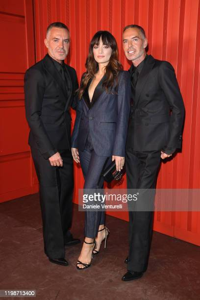 Dan Caten, Denise Capezza and Dean Caten attend the Dsquared2 fashion show during the Milan Men's and Women's Fashion Week Fall Winter 20 on January...