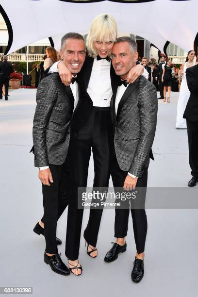 Dan Caten, Marjan Jonkman and Dean Caten attend the amfAR Gala Cannes 2017 at Hotel du Cap-Eden-Roc on May 25, 2017 in Cap d'Antibes, France.