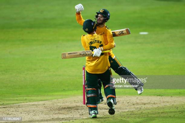 Dan Christian and Ben Duckett of Notts celebrates victory during the T20 Vitality Blast Final between Surrey and Nottinghamshire at Edgbaston on...