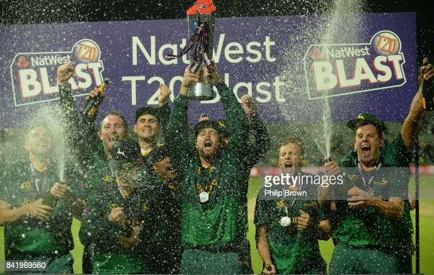 Dan Christian of Nottinghamshire celebrates after winning the Natwest T20 Blast Final match between Birmingham and Nottinghamshire at Edgbaston...