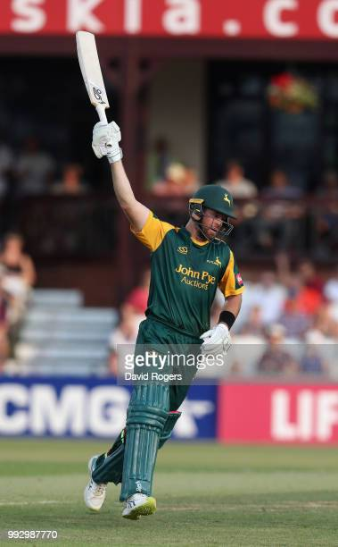 Dan Christian of Nottinghamshire celebrates his century in an innings of 113 not out during the Vitality Blast match between Northamptonshire...