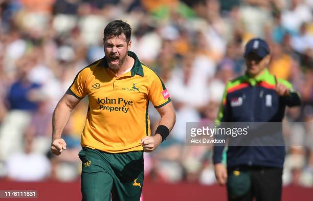 Dan Christian of Notts Outlaws celebrates taking the wicket of Ben Cox of Worcestershire Rapids during the Vitality T20 Blast Semi Final match...