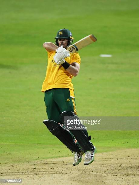 Dan Christian of Notts Outlaws hits runs during the Vitality Blast 20 Final between Surrey and Notts Outlaws at Edgbaston on October 04 2020 in...