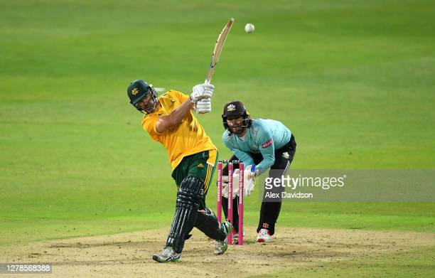 Dan Christian of Notts Outlaws hits runs watched on by Ben Foakes of Surrey during the Vitality Blast 20 Final between Surrey and Notts Outlaws at...