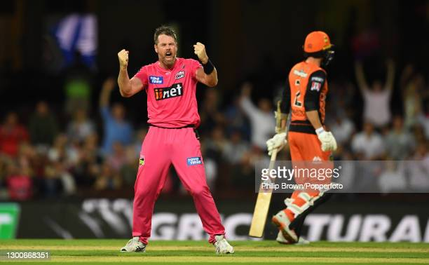 Dan Christian of Sixers celebrates after the final ball as his team defeated Scorchers by 27 runs in the Big Bash League Final match between the...