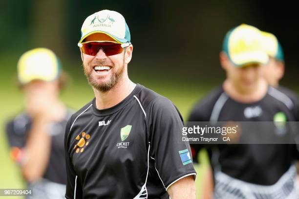 Dan Christian of The Australian Indigenous Men's cricket team takes part in a training session on June 5 2018 at Arundel Castle Cricket Ground United...