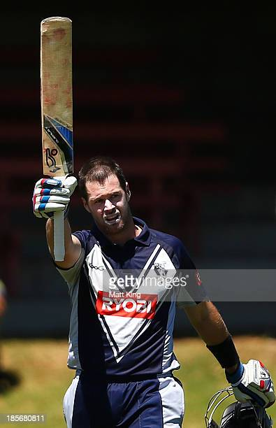 Dan Christian of the Bushrangers celebrates scoring a century during the Ryobi Cup Elimination Final match between the Victoria Bushrangers and the...