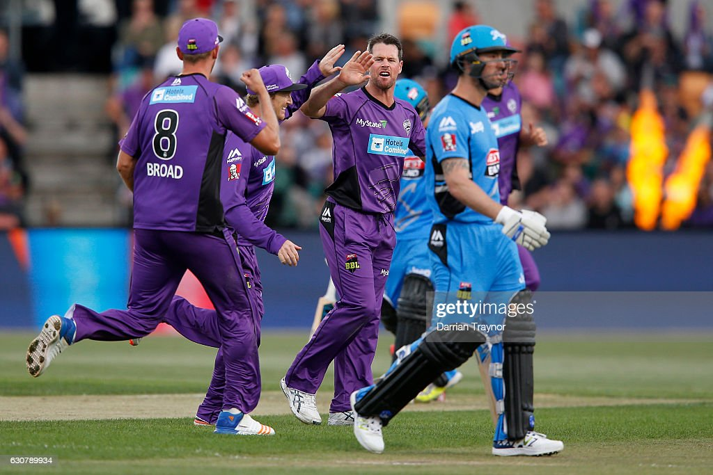 Dan Christian of the Hobart Hurricanes celebrates a wicket with team mates during the Big Bash League match between the Hobart Hurricanes and Adelaide Strikers at Blundstone Arena on January 2, 2017 in Hobart, Australia.