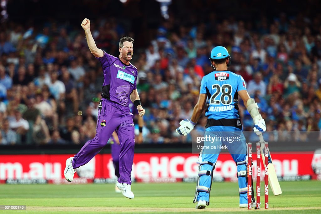 Dan Christian of the Hobart Hurricanes celebrates after getting the wicket of Jake Weatherald of the Adelaide Strikers during the Big Bash League match between the Adelaide Strikers and the Hobart Hurricanes at Adelaide Oval on January 6, 2017 in Adelaide, Australia.