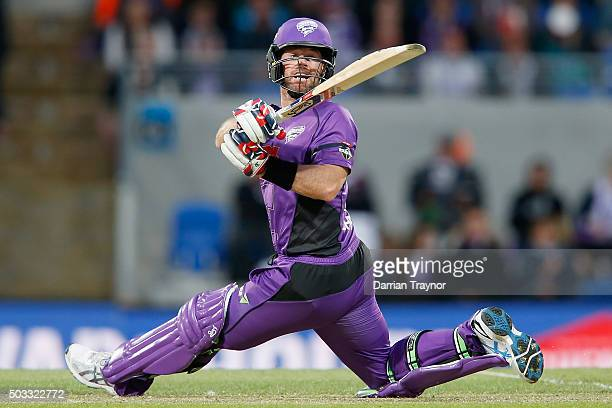 Dan Christian of the Hobart Hurricanes hits a ball for 6 runs during the Big Bash League match between the Hobart Hurricanes and the Melbourne...