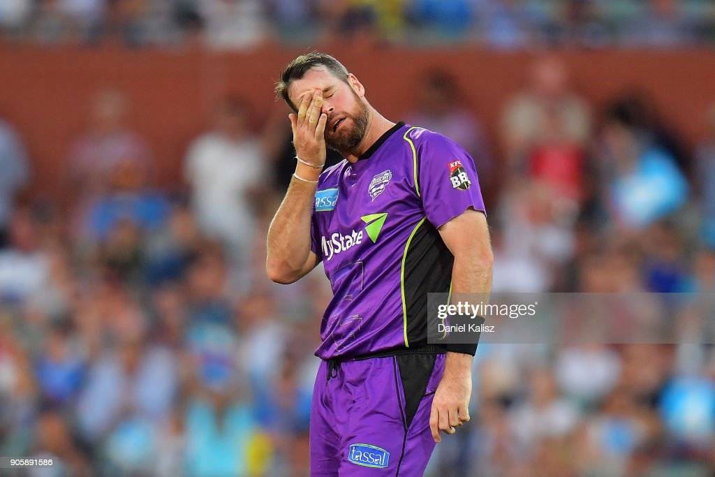 Dan Christian of the Hobart Hurricanes reacts during the Big Bash League match between the Adelaide Strikers and the Hobart Hurricanes at Adelaide Oval on January 17, 2018 in Adelaide, Australia.