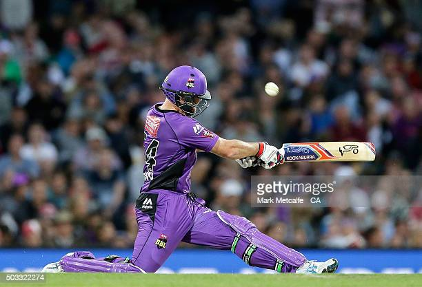Dan Christian of the Hurricanes bats during the Big Bash League match between the Hobart Hurricanes and the Melbourne Renegades at Blundstone Arena...
