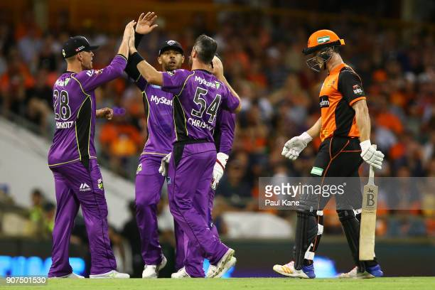 Dan Christian of the Hurricanes celebrates the wicket of Cameron Bancroft of the Scorchers during the Big Bash League match between the Perth...