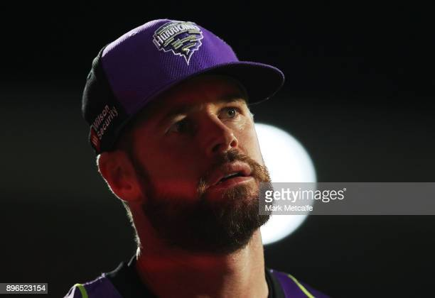 Dan Christian of the Hurricanes looks on during the Big Bash League match between the Hobart Hurricanes and the Melbourne Renegades at Blundstone...