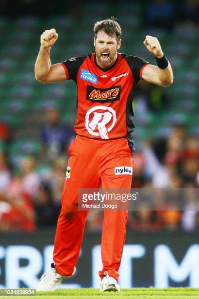 Dan Christian of the Renegades celebrates the wicket of Ashton Agar of the Scorchers during the Big Bash League match between the Melbourne Renegades...