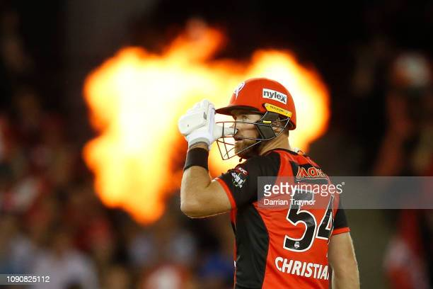 Dan Christian of the Renegades looks at the score board during the Big Bash League match between the Melbourne Renegades and the Hobart Hurricanes at...