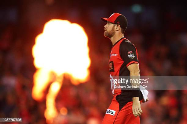 Dan Christian of the Renegades looks on after catching out Sean Abbott of the Sixers during the Big Bash League match between the Melbourne Renegades...