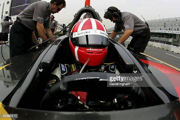 Dan Clarke driver of the CTE Racing HVM Lola Cosworth sits in his racing car during practice for the Champ Car World Series Gran Premio Telmex at the...