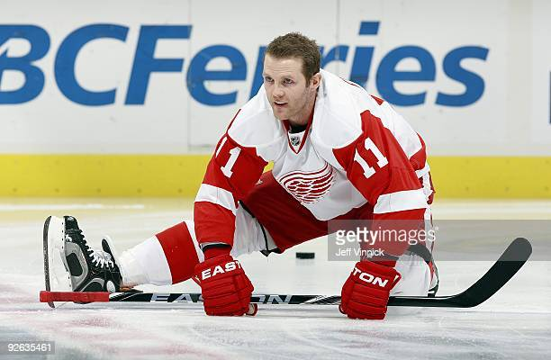 Dan Cleary of the Detroit Red Wings stretches during their game against the Vancouver Canucks at General Motors Place on October 27 2009 in Vancouver...