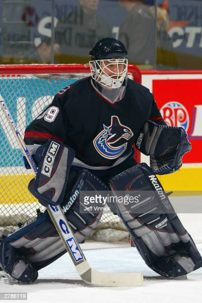 Dan Cloutier of the Vancouver Canucks eyes the shooter during warmups before the game against the Detroit Red Wings on November 3 2003 at General...