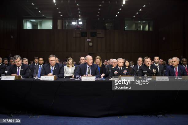 Dan Coats director of national intelligence center testifies during a Senate Intelligence Committee hearing on worldwide threats in Washington DC US...
