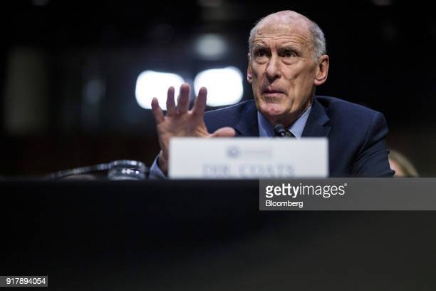 Dan Coats director of national intelligence testifies during a Senate Intelligence Committee hearing on worldwide threats in Washington DC US on Feb...