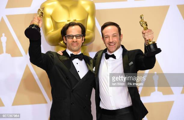 Dan Cogan and Bryan Fogel with their oscar for Best Documentary Feature in Icarus in the press room at the 90th Academy Awards held at the Dolby...