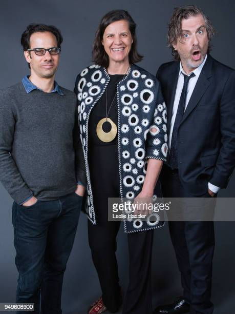 Dan Cogan Kirsten Johnson and Brett Morgen pose for a portrait during the Jury Welcome Lunch 2018 Tribeca Film Festival at Tribeca Film Center on...