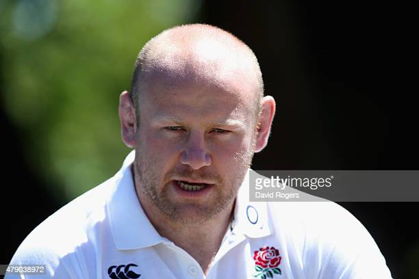 Dan Cole faces the media during the England media session held at Pennyhill Park on June 30 2015 in Bagshot England