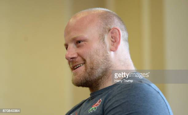Dan Cole looks on during an England media session ahead of the Autumn International against Argentina at Marriott Royal Hotel on November 6 2017 in...