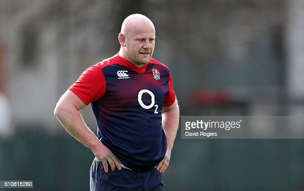 Dan Cole looks on during the England training session at Latymer Upper School on February 17 2016 in London England