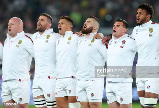 Dan Cole Mark Wilson Henry Slade Luke CowanDickie Ben Spencer and Courtney Lawes of England sing the national anthem prior to the Rugby World Cup...