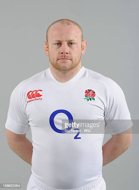 Dan Cole of England poses for a portrait during the England rugby union squad photo call at Weetwood Hall on January 21 2013 in Leeds England