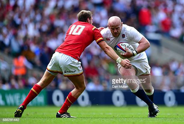 Dan Cole of England takes on Dan Biggar of Wales during the Old Mutual Wealth Cup match between England and Wales at Twickenham Stadium on May 29...