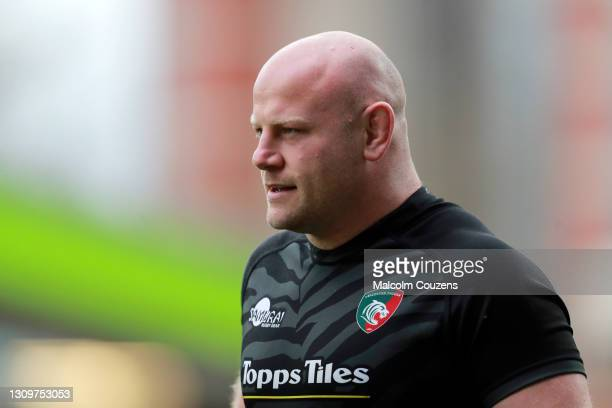 Dan Cole of Leicester Tigers looks on during the Gallagher Premiership Rugby match between Leicester Tigers and Newcastle Falcons at Welford Road on...