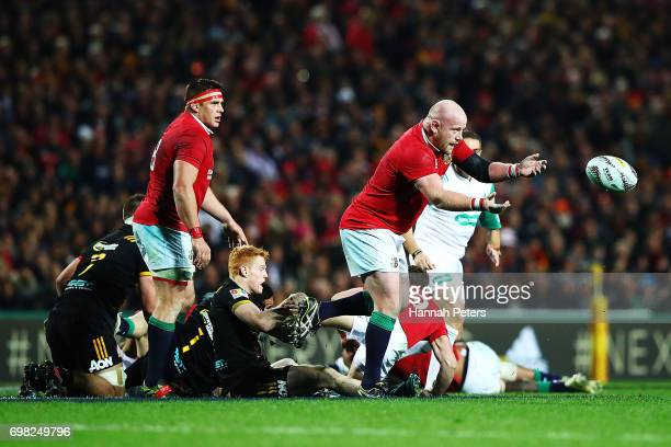 Dan Cole of the Lions passes the ball out during the match between the Chiefs and the British Irish Lions at Waikato Stadium on June 20 2017 in...
