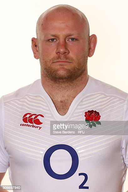 Dan Cole poses during the England EPS Six Nations Squad Portrait session at Pennyhill Park on January 25 2016 in Bagshot England