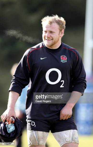 Dan Cole the England prop looks on during the England training session held at Pennyhill Park on February 10 2010 in Bagshot England