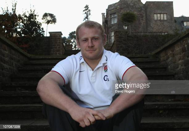 Dan Cole the England prop poses during the England media session held at the Pennyhill Park Hotel on November 23 2010 in Bagshot England