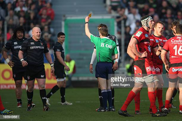Dan Cole the Leicester prop is shown the yellow card by referee George Clancy during the Heineken Cup quarter final match between Toulon and...